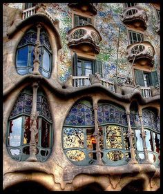 Casa Batllo, Barcelona, Spain.  Built by Antoni Gaudi.  Courtesy of the Amazing World Facebook page.http://www.facebook.com/AmazingWorld.Facts    Casa Batllo web site:  http://www.casabatllo.es/en/