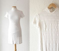 1960s white lace body conscious shift dress by School of Vintage