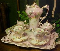 French-Footed Chocolate Pot Set w/2 Cups Saucers and Tray