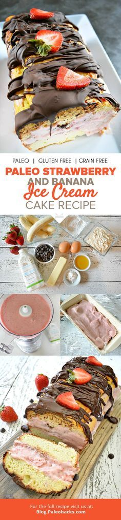 Creamy strawberry banana ice cream and coconut pound cake get coated in dark chocolate for a healthy, decadent ice cream cake! For the full recipe, visit us here: http://paleo.co/icecreamcakercp