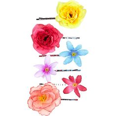 Eclectic tropical flower hair slides pack #riverisland