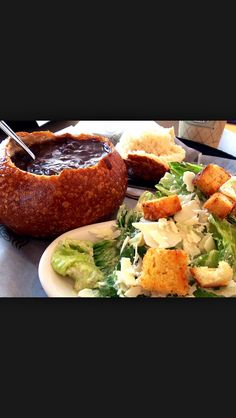 Bread bowl soup with Panera breads salid
