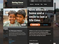 Saving Grace is a theme specifically for charities & non-profit organizations. Designed by Matthew Smith, the theme features stunning typography and attention to detail. We've also included donation functionality so you can accept donations through PayPal and let visitors see the progress of donations in the theme.