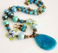 Blue set of handmade jewery. by BijouMaster on Etsy