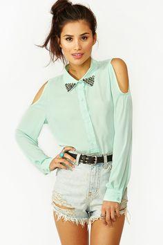 Studded Cutout Blouse - Mint '  nastygal  http://www.nastygal.com/sale/studded-cutout-blouse-mint