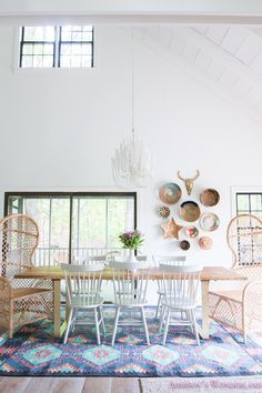 Our Aztec Country Chic All White Cabin Dining Room Reveal...