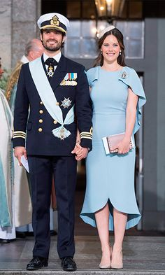 New parents themselves, Victoria's brother Prince Carl-Philip and his wife Princess Sofia coordinated their outfits for the royal engagement. The pair welcomed son Prince Alexander in April.