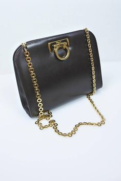 d7efd45dcd39 SALVATORE FERRAGAMO Vintage brown leather shoulder   crossbody bag   clutch  with a gold chain strap