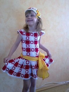 red and white granny sq frock
