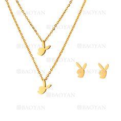 collar y aretes de conejo de dorado en acero inoxidable-SSNEG483481