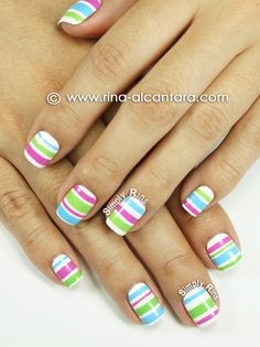Nail Art: Colored Stripes- paint just one nail stripes the others a solid color