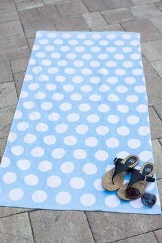 Light Blue Polka Dot Beach Towel