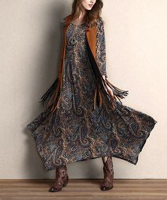 Another great find on #zulily! Brown Paisley Handkerchief Maxi Dress #zulilyfinds