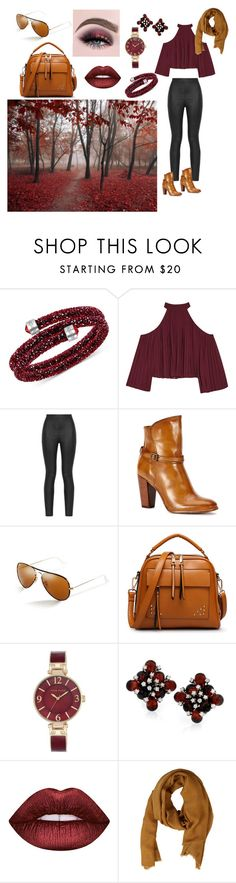 """""""Brownish Red"""" by preshas-jas ❤ liked on Polyvore featuring Swarovski, W118 by Walter Baker, Armani Jeans, Frye, Ray-Ban, Anne Klein, Lime Crime and MANGO MAN"""