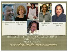 I'm on Bernice Bennett's talk radio show with Natonne Kemp and Sandra Taliaferro at http://www.blogtalkradio.com/bernicebennett/2012/05/11/true-miracles-with-genealogy-with-anne-bradshaw on Thursday May 10 from 7-8pm MT, 8-9pm CT, 9-10pm ET. Hope you can join us.