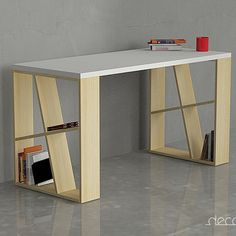 The Decortie Honey Office Desk is the perfect piece for a contemporary interior. Thanks to the angular shelving within the two sides you can not only enjoy sitting at this table but also having a place to put away your favorite b Home Office Furniture, Furniture Projects, Wood Furniture, Modern Furniture, Furniture Design, Geometric Furniture, Deco Design, Wood Design, Home Office Design