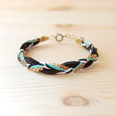 Leather & Brass Braided Bracelet in Black and Teal by sonofasailor