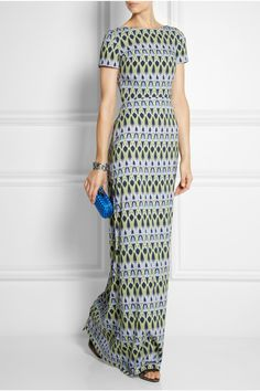 Matthew Williamson | Bluebell Trellis stretch-crepe gown print cap sleeves