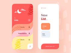 Lists Screen Lists Screen by Moatasem Abbas Kharraz Layout Design, Interaktives Design, App Ui Design, Flat Design, Design Color, Site Design, Design Ideas, Dashboard Design, Icon Design