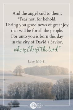 """And the angel said to them, 'Fear not, for behold, I bring you good news of great joy that will be for all the people. For unto you is born this day in the city of David a Savior, who is Christ the Lord. Quote Posters, Quote Prints, Bible Scriptures, Bible Quotes, Revelation 22, Luke 2, Christmas Blessings, Sisters In Christ, Inspirational Posters"
