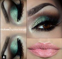 Makeup   mint eyeshadow   mint eye makeup and light pink lip