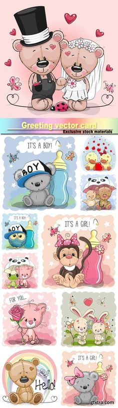 Greeting card cute, cartoon bear girl, monkey, teddy bride and teddy groom, rabbit boy and girl