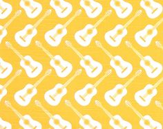 """Premier Prints Fabric ACCOUSTIC guitar CORN YELLOW Slub or choose from 3 colors 54""""wide-1 yardi or more-7 ounce cotton- decorator fabric on Etsy, $8.99"""