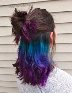Trick Your Conservative Office With This Underlights Rainbow Hair Trend underlights hair Trick Your Conservative Office With This Underlights Rainbow Hair Trend Galaxy Hair Color, Bold Hair Color, Bright Hair, Colorful Hair, Hombre Hair Colors, Hair Colour Trends, Rainbow Hair Colors, Rainbow Hair Highlights, Summer Highlights