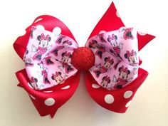 Large Red/Pink Minnie Mouse Bow- $7.00 #redMinnie #MinnieMouse #MinnieBirthday #redMinnieBirthday #MinnieHairbow