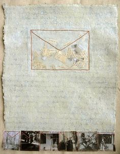 Mixed Media Drawing on Handmade Paper - Notes From The Ancestors by Patti Roberts-Pizzuto /  Missouri Bend Studio | handmade paper, pencil, acrylic, vintage photo reproductions, beeswax, embroidery thread, text and image snippets, organza #mixed_media