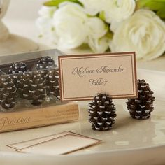 Pinecone Place Card/Photo Holders (Set of - Wedding Favors - Rustic Winter Wedding - Winter Wedding Winter Wedding Favors, Diy Wedding Favors, Wedding Themes, Fall Wedding, Wedding Reception, Trendy Wedding, Wedding Ideas, Wedding Blog, Party Favors