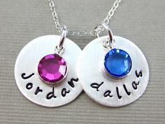 Hand Stamped Mommy Necklaces  Two Name Charms  by jcjewelrydesign, $48.00