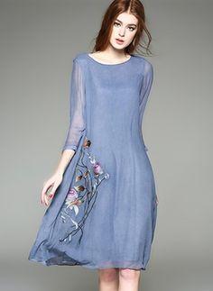 Baumwolle Blumen 3/4-lange Ärmel Knielang Lässige Kleidung Kleider