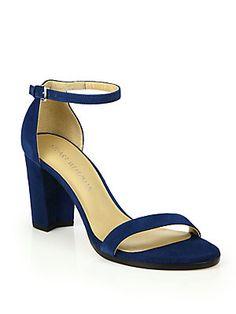 Stuart Weitzman NearlyNude Suede Block-Heel Sandals