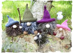 No home gnomes - $4.00 - Looking for a home, this sweet little family of gnomes, complete with family dog made homeless when a herd of deer rampaged through their forest village.    Very quick to knit, great for swaps or charity knits. A colour change would make them ideal as Christmas decorations. Use faux fur, eyelash or mohair. knit on 3mm needles using only a small amounts of yardage each.    Clear,easy to follow pattern.