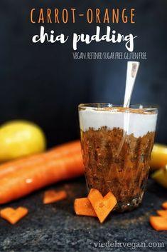 Carrot orange chia pudding. Vegan, refined sugar free, gluten free.