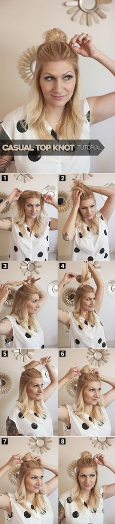 half-up casual top knot - hair tutorial