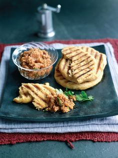 Coriander flatbreads with a red lentil pâté is a fragrant but simple Moroccan-inspired dish, it is a perfect snack or starter.