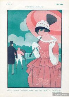 Fabius Lorenzi 1920 ''L'heureuse gagnante'' Horse Racing Elegant
