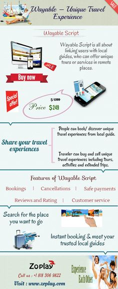 Wayable is an online marketplace script where traveler can buy and sell unique travel experiences including tours, activities and extended trips. The Wayable Script will have all of bookings, cancellations, reviews and rating, safe payments, and customer service.For more info, http://www.zoplay.com/web/vayable-clone-script-unique-travel-experience/