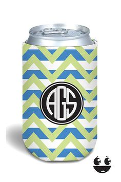 koozie beverage insulator Yellow Blue Chevron Black Monogram