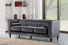 Meridian Taylor Grey Velvet Sofa - 642Gry-S