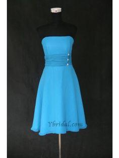 A-line Strapless Knee length Chiffon Evening Bridesmaids Prom Dress SAL0042