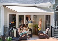 Remote controlled retractable awnings with Sunbrella fabric. #solair #sunbrella