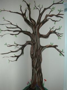 Tree mural in little girl's bedroom