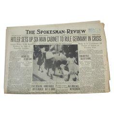 "August 31, 1939 Newspaper - Spokane, WA Spokesman-Review ""The Day Before World War II Began"" by leapinglemming on Etsy"