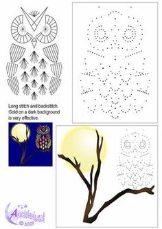 Owl Topper on Craftsuprint designed by Diana Hutchinson - A stitching pattern of an owl in two sizes. Only long stitch and back stitch are used. You could use gold thread on dark card for a stunning effect. - Now available for download!
