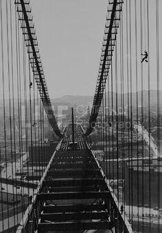 "San Francisco-Oakland Bay Bridge Construction - ""Spidermen"" (© Peter Stackpole)"
