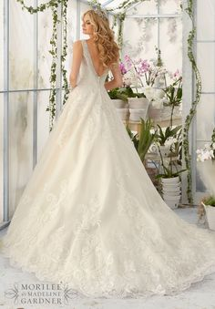Wedding Dress 2813 Diamante Beading Edges the Tulle Ball Gown Decorated with Wispy  Embroidered Lace Appliques and Deep Scalloped Edging