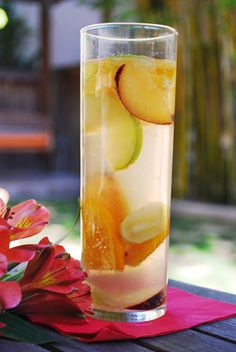 1 granny smith apple, cored & thinly sliced  2 plums, pitted & thinly sliced  1 lb green grapes  1 orange, sliced  2 1/4 L Prosecco, 3 bottles  12 oz diet lemon-lime soda  12 oz club soda  Instructions:    Mix together in a large pitcher:  2 1/4 L Prosecco , 3 bottles  12 oz diet lemon-lime soda  12 oz club soda  1 lb green grapes